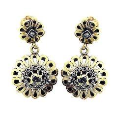 Victorian Antique Chandelier 18K Gold Enamel Earrings