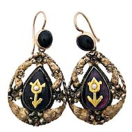 Antique Gold Earrings with Garland Motif from Victorian Era