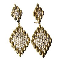 Sparkling Vintage 18K Gold Diamonds Earrings