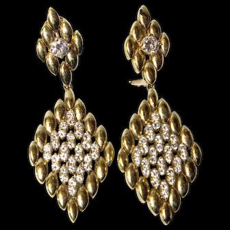 Sparkling Vintage 18K Gold Diamonds Earrings