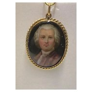 Antique Victorian 14K Gold Porcelain Miniature Portrait
