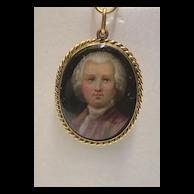 Antique Victorian 14K Gold Porcelain Miniature Portrait