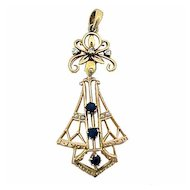 Antique Victorian 14K Gold Sapphire And Diamond Pendant