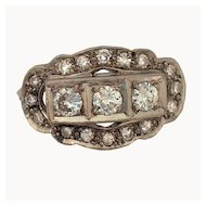 Art Deco Filigree Platinum Diamond Ring