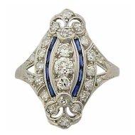 Antique Art Deco Platinum 1ct. Diamond Ring