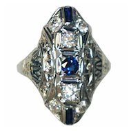 Art Deco 18K Gold Diamond And Sapphire Ring