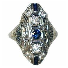 Art Deco 18K Gold Diamond And Sapphire Ring