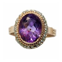 Antique Victorian 14K Gold Seed Pearls & Amethyst Ring