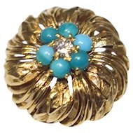 Estate Antique 18k Gold Turquoise & Diamond Ring