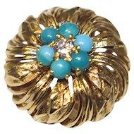 Estate Antique 18k Gold Turquoise & Diamond Ring