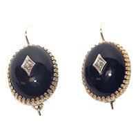 Vintage Diamond and Onyx 14k Gold Earrings