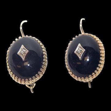 Vintage Diamond and Onyx 14k Gold Earrings