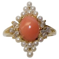 Vintage 14k Gold Coral, Seed Pearls and Diamond Ring