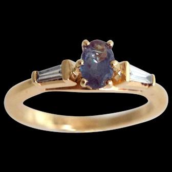 Estate 14k Gold Russian Alexandrite Diamond Ring