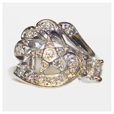 Vintage Eastern Star Masonic 18K Gold Ring