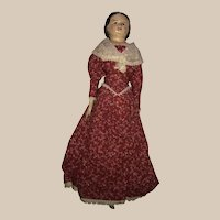 Greiner type wood and painted plaster head doll