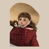 "AMI DEP 15"" 3200 -16/0 Bisque Doll in Red Dress and Sun Hat"
