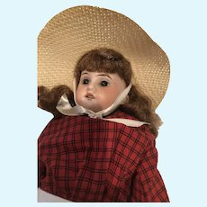 """AMI DEP 15"""" 3200 -16/0 Bisque Doll in Red Dress and Sun Hat"""