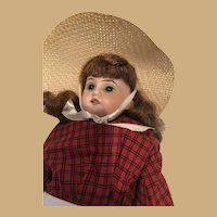 """Bisque Doll in Red Dress and Sun Hat AMI DEP 15"""" 3200 -16/0"""