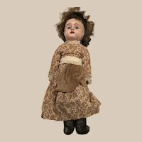 """Vintage Tin Head 13"""" Doll with leather body"""