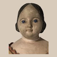"""18"""" delicate Greiner style plaster covered wagon doll in wonderful clothing"""