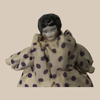 Doll for the Dollhouse ( 2 x 3 inch ) in purple polka dots