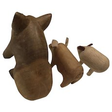 Three Wooden Pigs