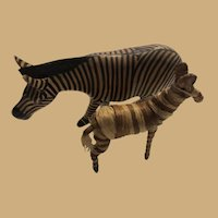 Wooden African Zebra and Small Strapped Straw Zebra