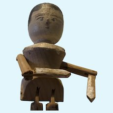Early Pegged Wooden 12 inch Doll