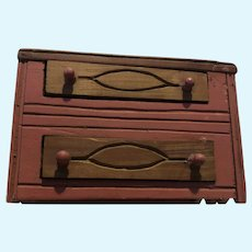 Small Hand Made Wooden Doll Chest