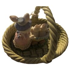 Pottery Basket with Mother Bunny and Babies
