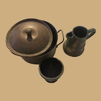 Copper Kettle, bowl and coffee Pot for dolls