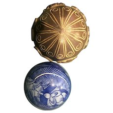 Two Interesting Decorative Balls, one wood and one ceramic