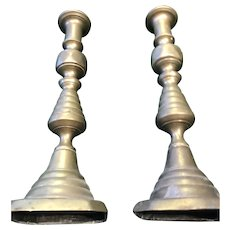 Pair of Two very Tall Brass Beehive Candlesticks