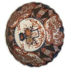 Beautifully decorated Large Imari Punch Bowl with scalloped edge