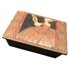 French Wood and Paper Box with Lady and Fan