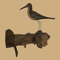 Hand Made Sand Piper Wood Bird Sculpture