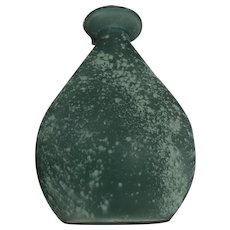Frosty Green Sea Glass Art Vase with Bottle Base
