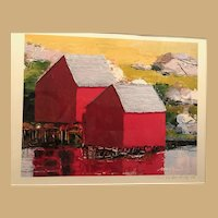 Modern Print of Two Red Barns signed and Numbered