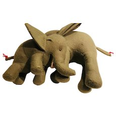 African Elephant Mother and Baby in Felt