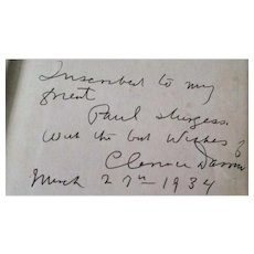The Story of My Life, Inscribed Clarence Darrow Autobiography