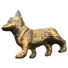 Small Bronze German Shepherd with Engraved Details