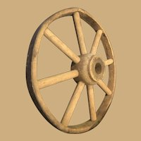 Early Eight Inch Wooden Wagon or Cart Wheel with Iron Rim