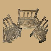 Rustic Bentwood Adirondack Doll Chair, Arm Chair and Settee