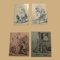 Four Great Ephemera Ink Images of Children Playing and Animals