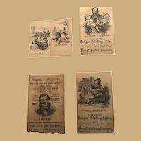 Six Classic, Ink Drawn Black and White Ephemera Printing Cards