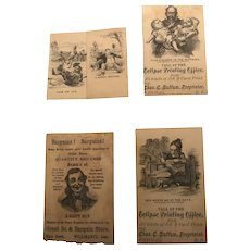 Six Classic, Ink Drawn Black and White Ephemera Printing Cards