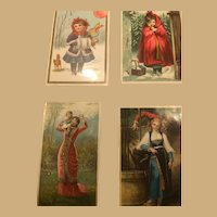 Four Very Richly colored Victorian Era Ephemera Cards