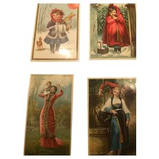 Four Very Richly colored Victorian Era Ephemera Cards