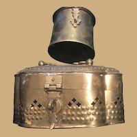 Two Medium sized Brass Trinket Boxes with Latch and Acanthus Leaf